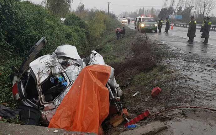Nuevo accidente en Ruta 5 del Maule Sur deja como trágico saldo tres víctimas fatales